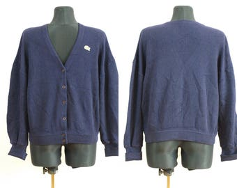 Lacoste sweater, Navy blue V neck sweeter CHEMISE LACOSTE Size 44 100% Pure new wool Mede in France Navy blue Cardigan sweater 6 buttons