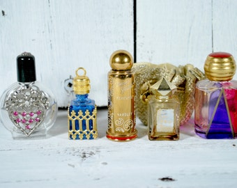 5 Perfume bottles , Instant Collection , Silver and Gold  Filigree , Perfume Pendant