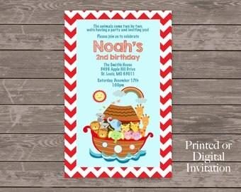 Noah's Ark Birthday Party Invitation, Primary Colors, Red Chevron