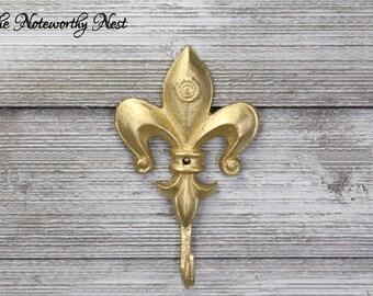 Gold fleur de lis hook // Gold hook // fleur de lis // bathroom hook // bedroom hook // hollywood regency // Gold Decor // entry decor