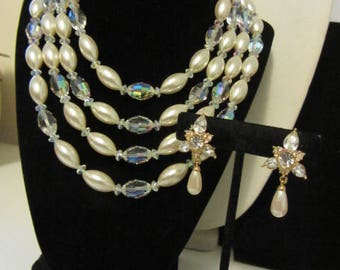 Multi strand faux pearl and crystal bead necklace with rhinestone pireced earrings