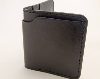 Black Horween Leather Wallet, Billfold, Wallet, International Wallet, Leather Wallet
