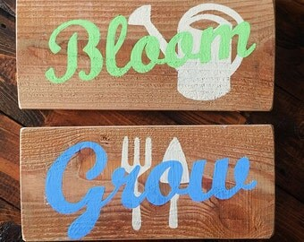 Reclaimed Pallet Wood Hand Painted Rustic Spring Decor Signs Bloom & Grow Gardener Decor