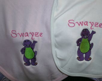 Barney Dino Personalized Infant Toddler Baby Blanket & Bib Set  Any color