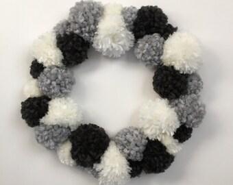 Wreath, PomPoms, Pom Pom Wreath, Door Hanging, Wall Decor, Door Wreath, Customizable Wreath, Wall Decoration, Door Decoration, 12inch Wreath