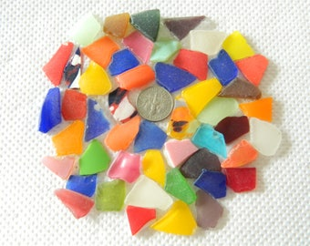 Beach found sea glass pieces in assorted colours for crafts jewellery ect