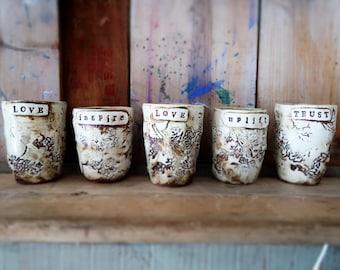 word cups texture organic porcelain tumbler clay unique
