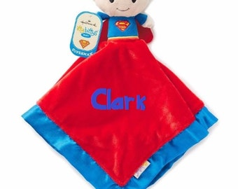 SUPERMAN Lovey Snuggle Blankey Security Baby Blanket lovey - Monogrammed