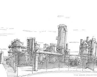 Ink Sketch of Gas Works Park in Seattle