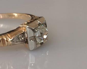 Edwardian .40ct Mine Cut Diamond Solitaire Ring