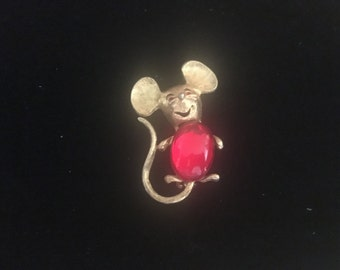 Vintage Red Jelly Belly Mouse Pin From Park Lane