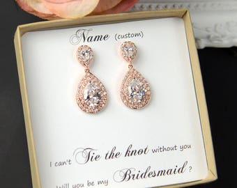 Bridal Earrings, Vintage style drop dangle Crystal wedding earrings Rhinestone Bridesmaids,Bridal Earrings ,rose gold wedding jewelry set