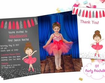 Ballet Recital Invitation - Photo Invitation - Ballerina Dance Invitation - Dance Invitation - You Print - Coral and Silver Ballet
