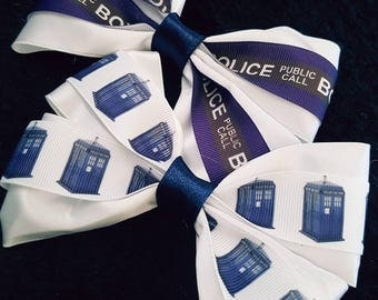 Doctor who tardis police box hair bow 2 pack