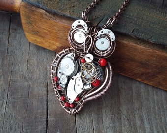 Mechanical owl pendant Steampunk owl necklace clock work owl