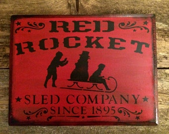 Red Rocket Sled Company Sign