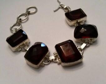 Sterling Silver Bracelet Red Stones