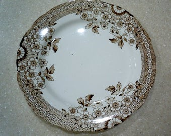 Vintage, Aesthetic,  Brown Transferware, A & F Co, FOLEY, Dinner Plate, Fall, Floral, Wall Decor,