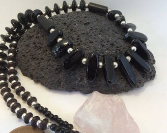 black agate nugget and wood beaded necklace
