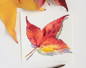 Autumn leaf painting - original watercolour painting of bright red, orange & yellow fall leaf - one-of-a-kind mini art - nature painting
