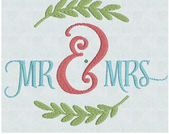 Mr and Mrs /  Instant Download Embroidery Machine Pes Designs  2 Sizes PES / Wedding GIft / Bridal Shower / House Warming /  pillow/ shirt