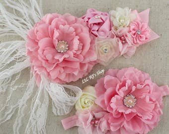 Pregnancy/maternity Vintage Rosette Sash Belt Pink or Purple Sashes flowers Pearl Rhinestones