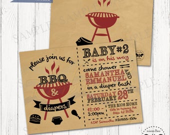 BBQ and Diapers Baby Shower Invitation Printable / Baby-Q Diaper Bash Party Invite