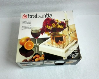 vintage brabantia food warmerrechaud hot plate made in holland white metal 19701980s