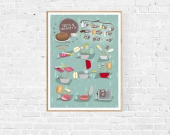 traditional illustrated recipe, italian recipe prints, kitchen prints, cooking prints home decor, recipes from the Graficettario