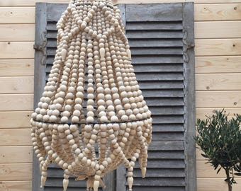 Large Wooden Beaded Chandelier