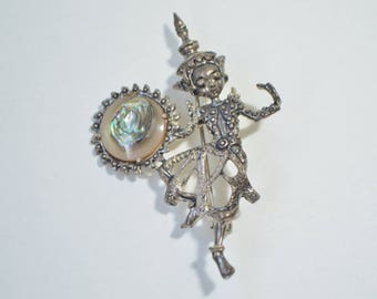 Vintage Sterling Silver 925 Abalone Thai Goddess Siamese Dancing Brooch Pin