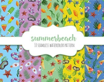 10 x Watercolor summer seamless pattern / Background / Aquarelle / Scrapbooking & DIY
