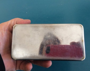 Vintage Silver Toned Metal Sliding Box