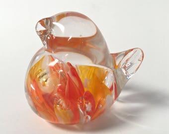 Orange Hand Sculpted Glass Bird Paperweight
