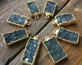 Druzy Rectangles for pendants in 22k gold-plated, gold edged electroforming #1105