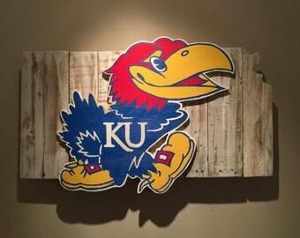 Wooden State of Kansas with Jayhawk logo