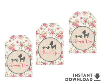 "2x3"" Thank You Gift Tags Printable Shabby Pink Floral Woodland Fawn Dear Baby Shower Decorations Printable (Instant Download) No.698BABY"