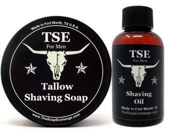 Men's Shave Gift Set 2 Pc, Shave Soap, Shave Oil, Grooming Set, Facial Hair Care, Men's Set, Guy Collection, by The Soap Exchange ®