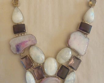 modern necklace with Moonstone 29 cm long