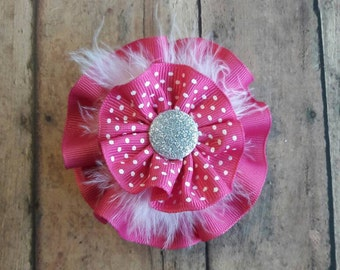 Pink polka dot stacked hair bow.