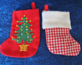 Christmas Sock Ornaments - handmade in red & white gingham, or solid red with embroidered Christmas tree. Use as gift card or money pouches!