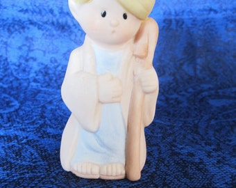 Christmas Boy Joseph Figurine-porcelain bisque marked with WNS © 85'. Darling facial expression. Vintage collectible, gift for any occasion!