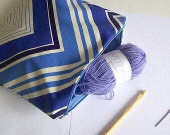 Crochet kit crochet bag with wool and needles blue crochet bag with zig zag design
