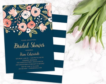 Bridal Shower Invitation, Floral Bridal Shower Invitation, Navy Gold Bridal Shower Invite, Boho Bridal Shower Invitation