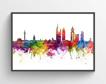 Frankfurt Poster, Frankfurt Skyline, Frankfurt Cityscape, Frankfurt Print, Frankfurt Art, Frankfurt Decor, Home Decor, Gift Idea, DEFR06P
