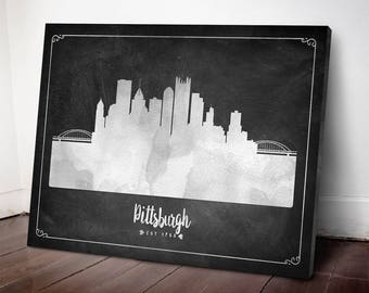 Pittsburgh Skyline Canvas Print Pittsburgh Cityscape Pittsburgh Art Print Home Decor Gift
