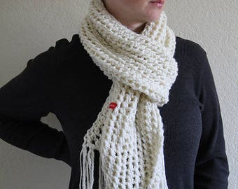 Ivory chunky womens scarf. Hand knitted winter scarf. Made to order.