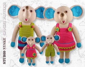 Crochet animal doll, PATTERN elephant FAMILY, tutorial stuffed toy pdf