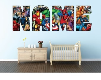 Name Wall Sticker Etsy - Superhero wall decals for kids rooms