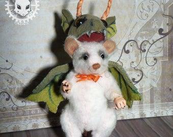 Mouse in Dragon costume, handmade plush, unique piece
